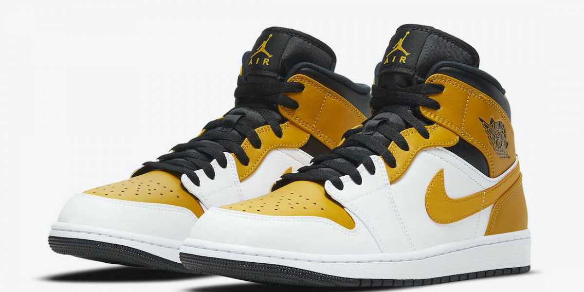 "Best Selling Air Jordan 1 Mid ""University Gold"" Shoes 554724-170"