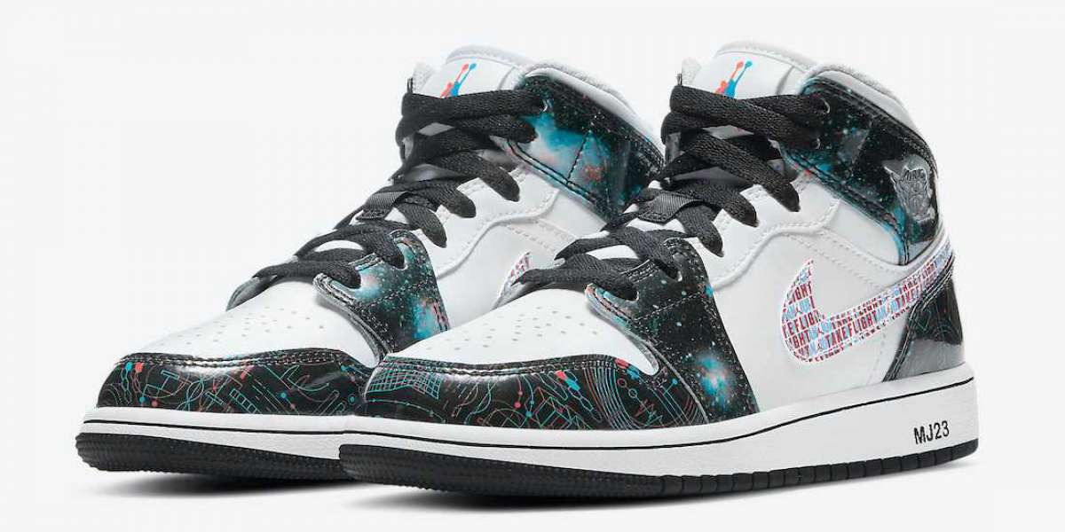 "The starry sky 3D theme is here again! Air Jordan 1 Mid SE GS ""Take Flight"" DD3105-114 Cheap For Sale"